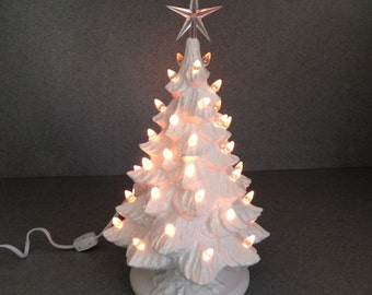 Traditional Wedding White Ceramic Christmas Tree ....16 inches Tall ready to ship #16WWmctLcs