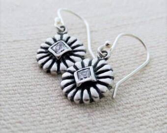 Silver Dainty Earrings, Simple Earrings, Round Sterling Silver Earrings, Small dangling Rhinestone Earrings, Simple Everyday Earrings