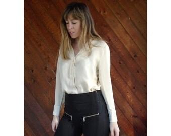 Textured Ivory Check Silk Plunge Shirt Blouse - Vintage 80s - MEDIUM