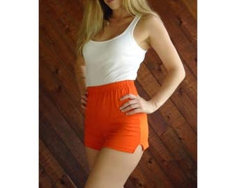 25% off Flash Sale . . . Bright Orange Jersey Dolphin Hot Shorts - Vtg 80s - XS M