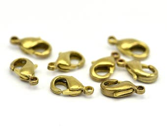Brass Parrot Clasp, 100 Raw Brass Lobster Claw Clasps (10x5mm) H501 ( A0364 )