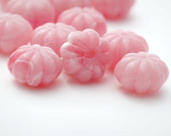 Vintage Pink White Marbled Lucite Fluted Spacer Beads 13mm (16)
