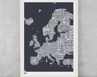 Europe Type Map Screen Print, Europe Word Map, Europe Font Map, Europe Text Map, Europe Artwork, Europe Wall Poster, Europe Wall Art, Europe