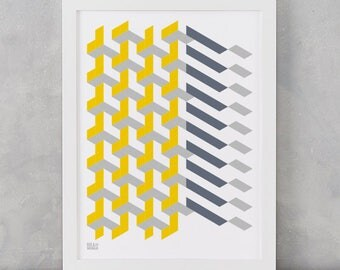 Geometric Print, Polygon Grey and Yellow, Geometric Shape Screen Print, Wall Art, Home Decor