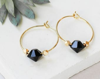 Groupie Earrings, Hoop Earrings, Gold Plated Round Earrings, Crystal Bead Hoops, Black Stone Earrings, Evening Hoop Earrings