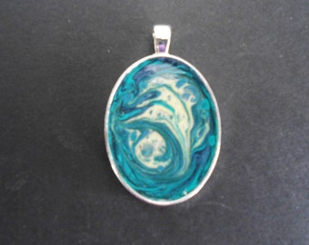Blue, Teal & Cream Pendant - Small