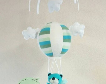 Mobile - Hot Air Balloon with Bear. Nursery, Baby, Decor, Gift