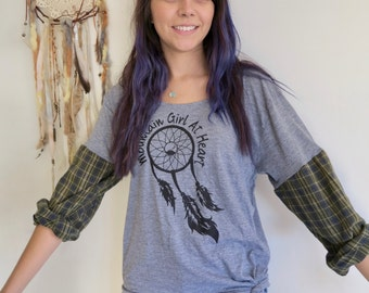 Dreamcatcher Mountain Girl At Heart Plaid Flannel Tee T-shirt Top Shirt Womens Hippie Boho Festival Size XL