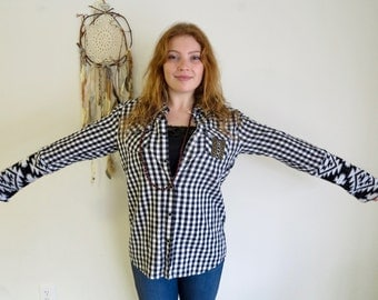 Black and White Boho Plaid Sweater Sleeve Cuff Upcycled Button Up Blouse Hippie Boho Unique Top Shirt Women's Recycled Clothing Size Large