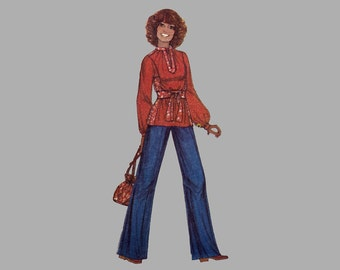 1977 Misses Dress/Top, Bag/Scarf Pattern McCall's 5719 Bust 36-38, Caftan, MuuMuu, Tunic with Front Placket Round Drawstring Purse, Complete