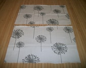 dandelion print home decor fabric. two remnants 11 x 16W. each. prewashed cotton. Ships first class USPS mail.