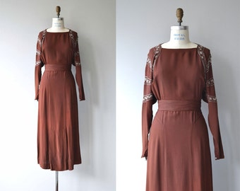 Cinq Soeurs dress   vintage 1930s dress   beaded crepe 30s dress