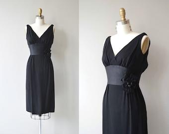 Gift Wrapped dress | vintage 50s dress | black 60s cocktail dress