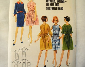 Vintage Butterick 4079, sewing pattern, step-into shirtwaist dress, 1960s, Vintage size 12, bust 32