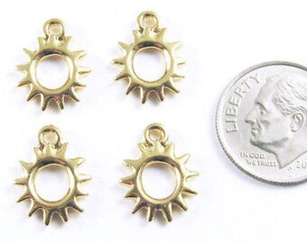 TierraCast Pewter Charms-Bright Gold RADIANT SUN (4)
