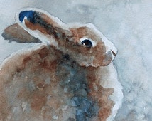 Bunny art PRINT bunny print easter LARGE 11 x14 easter Bunny painting blue brown bunny artwork Baby Boy Nursery Art Painting cute bunny wall
