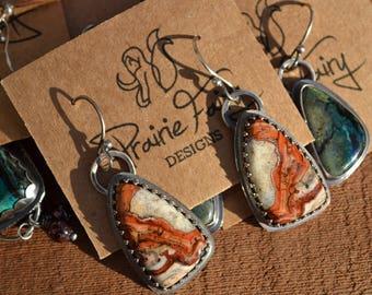 Calcite, Arizona Mined Sterling Silver Earrings, Handmade, USA stone