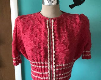 Hand Knitted Pink Puff Sleeve Zip Cardigan- Made from a 1930's Knitting Pattern