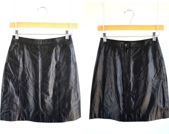 Berman's Woman's Black Leather High Waist Retro Fitted Mini Skirt