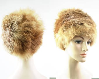 Vintage Irene of New York Red Fox Real Fur Helmet Style Woman's Retro Hat