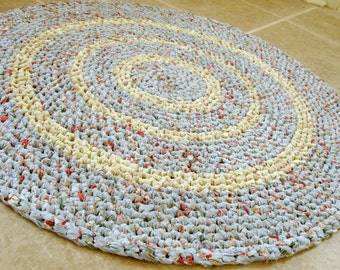Round crochet rag rug, mat, bath mat, blue with multi, eco, repurpose, reuse, cottage, country, farmhouse, shabby, 28.5 inches round.