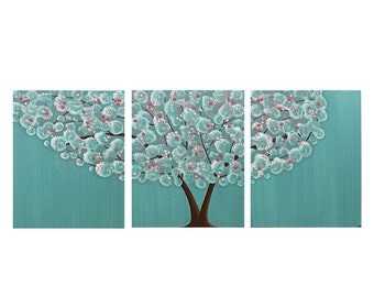 ON SALE Teal Nursery Painting - Tree Wall Art on Canvas Triptych - Teal and Pink - Large 50x20