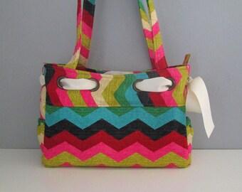 Large Shoulder Handbag, Small Tote Bag, Large Chevron Bag, Chevron Tote Purse, Purse with Bow