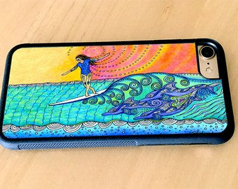 Wahine Surf Art Rubber iPhone 5/5s, iPhone 6/6s, iPhone 6 Plus, iPhone 7, iPhone 7 Plus