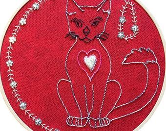 Cat Art - Cat Artwork - Cat Wall Art -Cat Embroidery -Cat Home Decor -Embroidery Hoop Art -Embroidery Hoop Wall Art -Hand Embroidery Designs