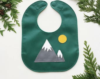 Mountains Leather Baby Bib with Pocket and Magnet Clasp // Stain Resistant // Adjustable Bib // Neutral Baby Gift // Option to Personalize