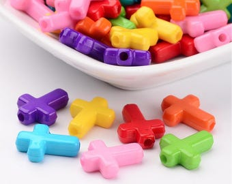 Acrylic Cross Bead Mix - 100 pieces