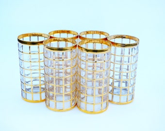 Toril de Oro Shoji Gold Mid Century Imperial Glassware - Set of 6 Tall Drinking Glasses / Hollywood Regency Water Tumblers
