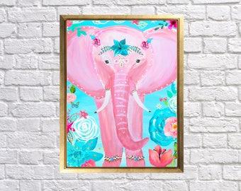 Bohemian Elephant Art, Pink Turquoise Elephant Print, Nursery Elephant Art, boho elephant wall dor, Bohomian Chic Nursery