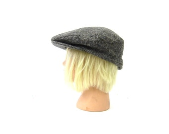 vintage Gray Wool newsboy hat Driving cap Cabbie Cap Hipster Men's Women's Hat Unisex size Medium