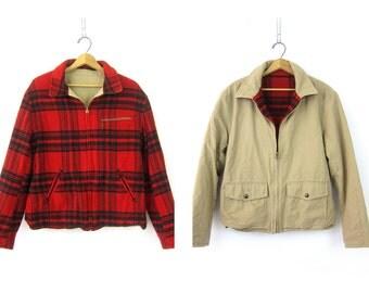 Vintage Red Black Buffalo Check Wool Coat Reversible Checkered Hunting Coat Canvas Khaki Barn Jacket Work Coat Medium Large