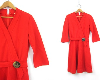 60s Mod Dress Vintage retro Button Red V Neck Dress 1960s Knit Go Go Dress Womens Medium Large