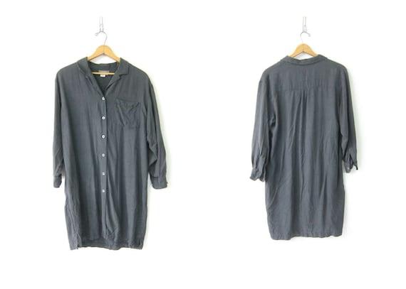 90s SILK Shirt Dress Minimal Button Front Gray Sheath Tunic Dress Classic Simple Modern Style Fashion Dress Womens Size Large