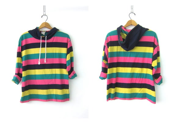 Striped Rugby TShirt Hooded Tee Shirt Preppy Slouchy Pullover Shirt with Hood Pink Yellow Green Vintage Womens Size  Medium