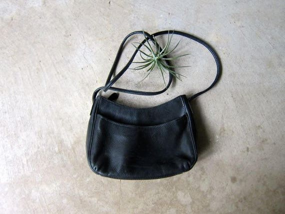 90s FOSSIL Purse Small Black Mini Leather Purse with Crossbody Strap Preppy Grunge Bag Vintage Simple Cross Body Everyday Purse Pebbled