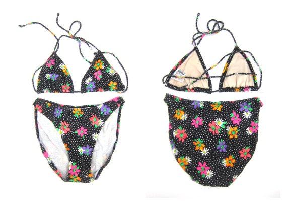 Floral Bikini Hi Cut Bathing Suit Swim Suit Two Piece Thigh High Beach Resort Vacation Swimming Suit Black String Bikini Floral Print Large