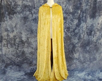 Hooded Cloak in Golden Yellow Crushed Velvet, Fantasy Clothing, Wizard Cape, Ritual cloak, Renaissance Costume- READY TO SHIP