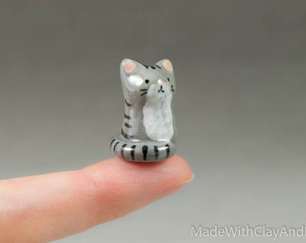 Little Grey Tabby Kitty - Terrarium Figurine - Miniature Tiny Ceramic Porcelain Gray Striped Cat Animal Sculpture - Hand Sculpted