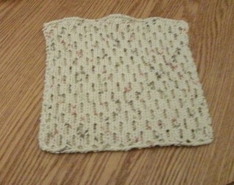 Hand Knit Cotton Dishcloth - measures approximately81/2x9 inches