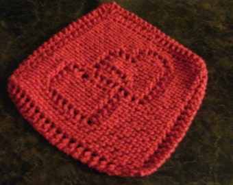Hand Knit Red Dishcloth - measures approximately 9x9 inches