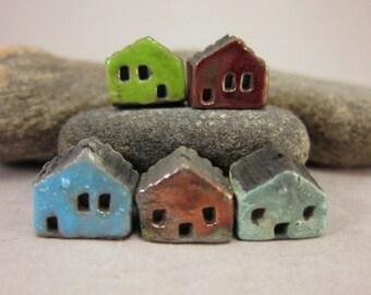 5 Saggar Fired Miniature House Beads...Green Metallic Copper Blue Copper Red Copper Green