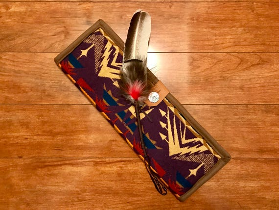 Feather Holder / Feather Case XL Wool Purple