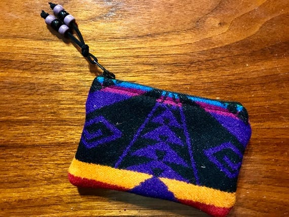 Wool Coin Purse / Phone Cord / Gift Card Holder / Zippered Pouch Black & Purple Great Star