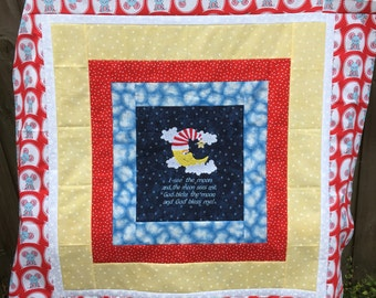 "Unfinished quilt top - Moon - 39"" square / Embroidered / strip quilt / baby or toddler sized / ready to sew / baby shower gift / blue / red"