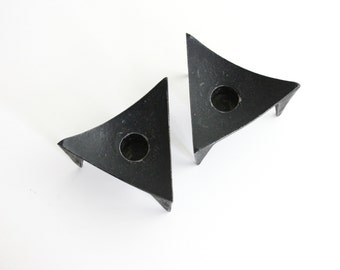 Mid Century Modern Candle Holders / Cast Iron Triangle Candle Holders / Danish Modern Candlesticks
