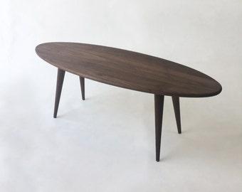 "Mid Century Modern Coffee Table - Solid Walnut Elliptical Cocktail Table -47"" Elliptical Surf Board w/ Tapered Walnut Legs"
